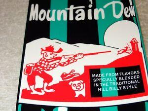 VINTAGE-MOUNTAIN-DEW-W-HILLBILLY-BOTTLE-DIE-CUT-15-034-METAL-SODA-POP-GAS-OIL-SIGN