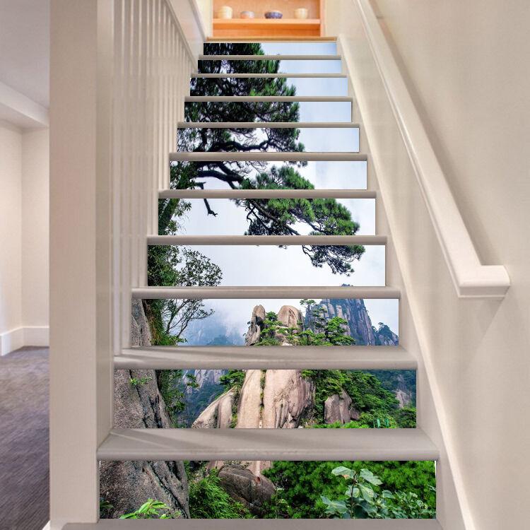 3D Tree sky 7587 Stair Risers Decoration Photo Mural Vinyl Decal Wallpaper UK