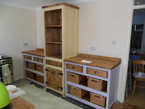 Image Is Loading Solid Pine Freestanding Kitchen Units 2 Open Cupboards