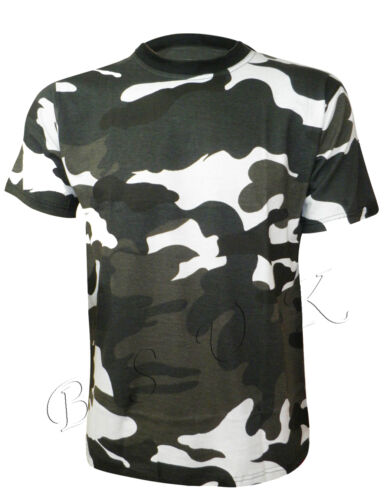 SMALL- 5XL MENS MILITARY COMBAT BLACK WHITE ARMY PRINT CASUAL T-SHIRT SIZE
