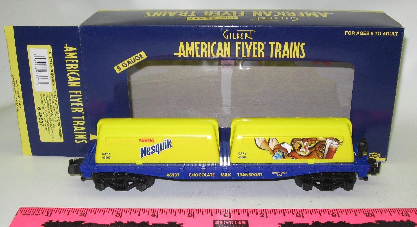 American Flyer NIB 6-48537 Nestle Nesquik, flatcar with