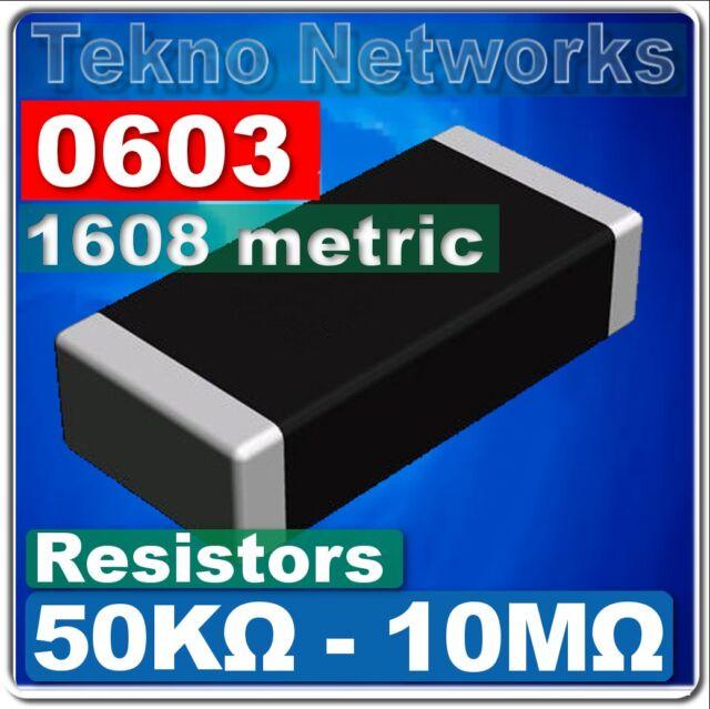 0603 ( 1608 Metric ) SMD / SMT Resistors - 100pcs [ Range: 50K - 10M Ohm ]