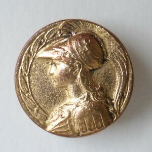 Bouton-ancien-Profil-Athena-A-BARGAS-non-signe-14-mm-Gilt-Brass-Button