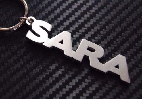 SARA Personalised Name Keyring Keychain Key Fob Bespoke Stainless Steel Gift