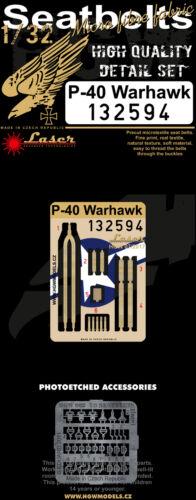 Laser Hgw 1//32 Curtiss P-40E Warhawk Pre-tagliati Cinture Sedile #132594