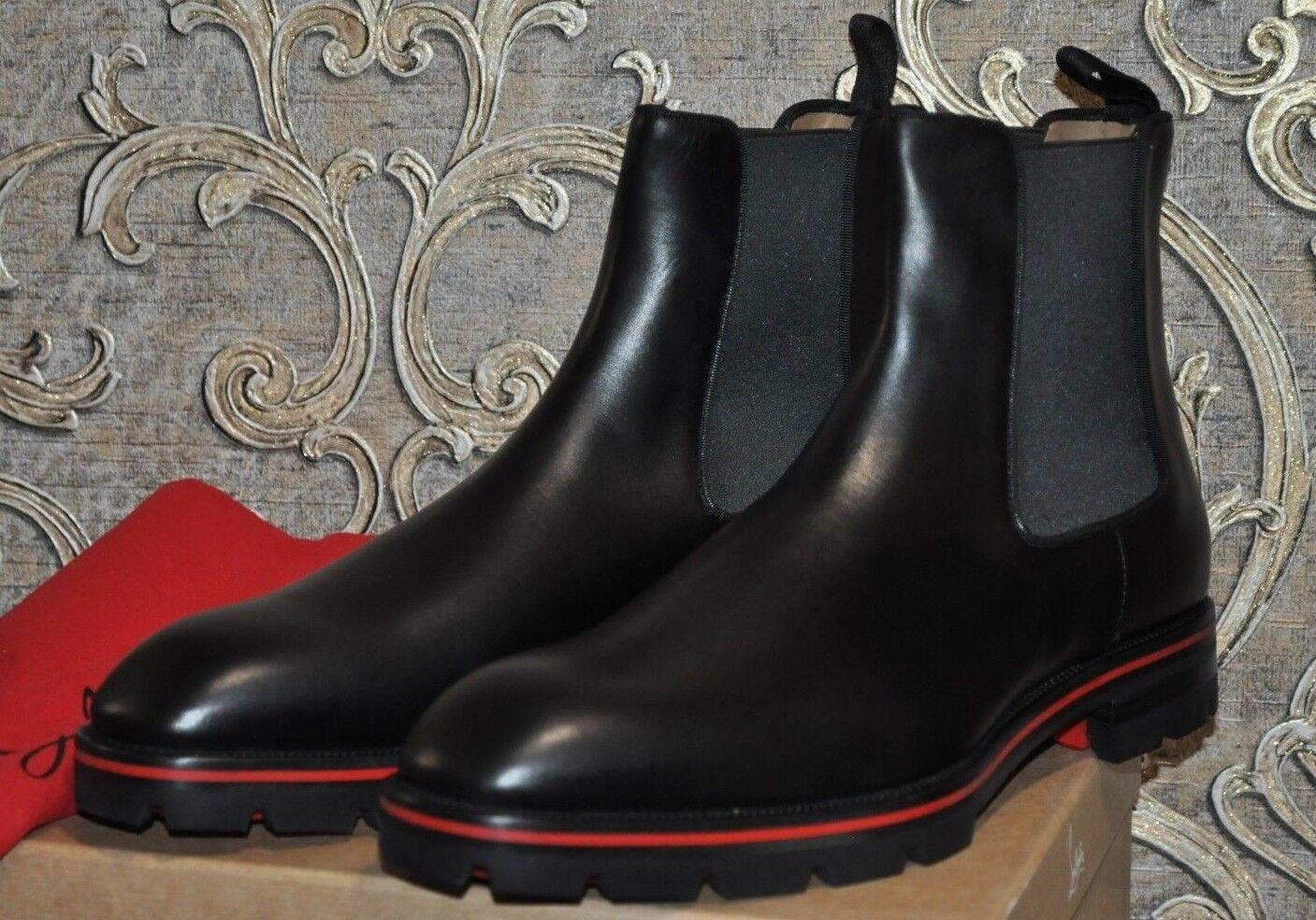 Auténtico Nuevo CHRISTIAN LOUBOUTIN alpinono Becerro Negro botas Planas Chelsea