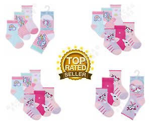 3 pares de calcetines de bebé niñas Algodón Rico carácter lindo Unicornio tobillo calcetín UK