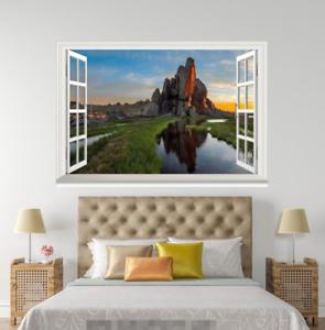 3D Hills Stone Lake 64 Open Windows Mural Wall Print Decal Deco AJ Wallpaper Ivy