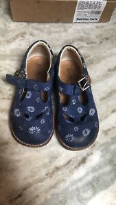 Girls KICKERS ALL LEATHER MADE IN ITALY Mary Jane Flats BLUE/White Sz6