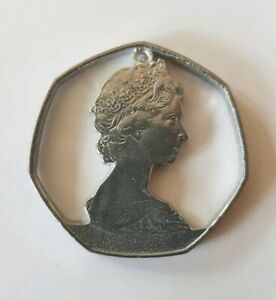 Vintage-pendant-costume-jewellery-Silver-50p-fifty-pence-piece-pewter-1970s-UK