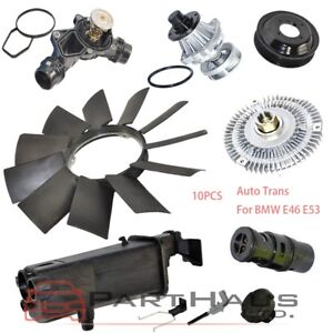 Details about E46 Expansion Tank Thermostat Cap Sensor Water Pump Fan  Clutch Blade Pulley Set