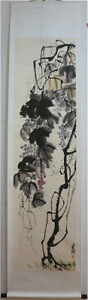Excellent-Chinese-Scroll-Painting-034-Grape-034-By-Qi-baishi-D