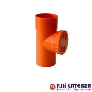 TEE ISPEZIONE IN PVC ROSSO FOGNA 125 PLASTICA ARANCIONE