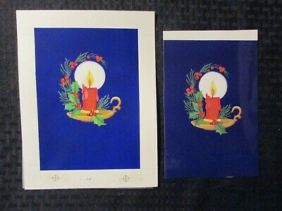 """Glowing Candle 7.5x10"""" #3007 Christmas Greeting Card Art W/ Stat & 37 Cards Exquisite Craftsmanship; Original Comic Art"""