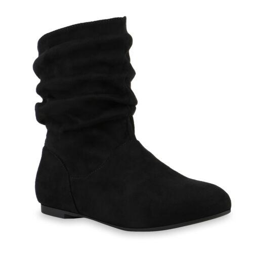 892567 Damen Schlupfstiefel Lederoptik Stiefeletten Komfort Schuhe Top