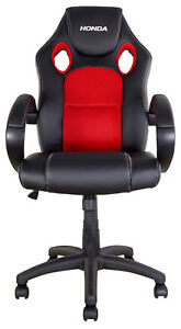 NEW-EXECUTIVE-RACING-COMPUTER-GAMING-CHAIR-GARAGE-HOME-BIKETEK-HONDA-RED