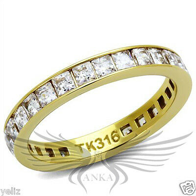 Brilliant Square Cut Cubic Zircon CZ AAA Wedding Eternity Ring Band IP TK2344G