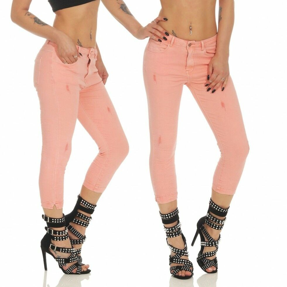 Damen 7 7 7 8 Crash-Jeans mit Vintage-Applikationen - Rosa | Online Shop