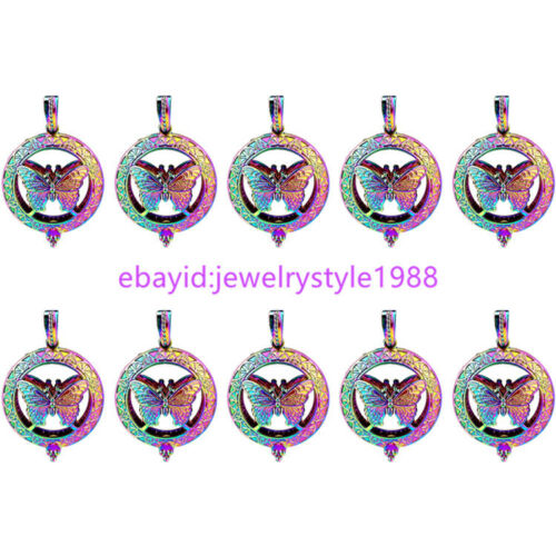 C830 3D Butterfly Diffuser Round Beads Pearl Cage Locket Charms Rainbow Color