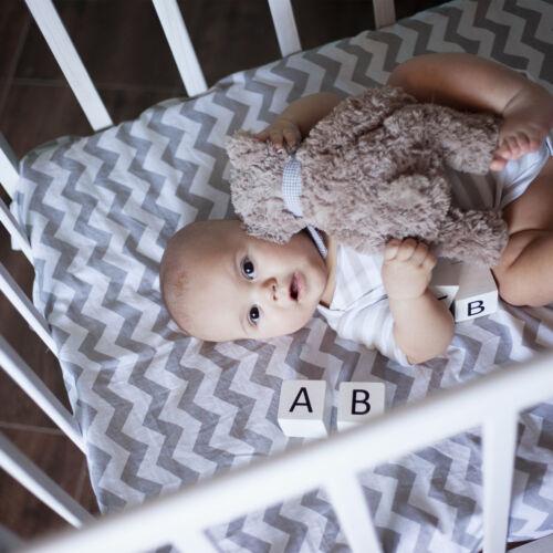 Toddler Junior Fitted Sheet 100/% Cotton 140x70cm 2x Chevron