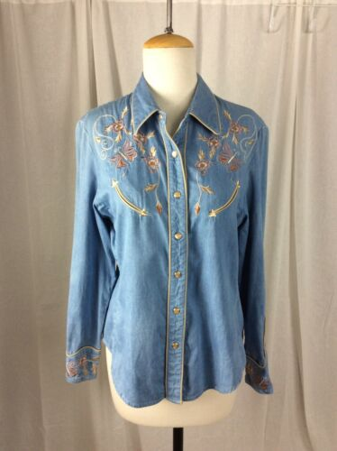 Scully Denim Western snap Shirt Embroidered Ladie… - image 1