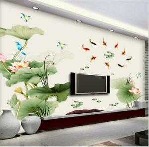 Wall-Sticker-Lotus-Pond-Fish-Flower-Living-Room-Lobby-Home-Decor-Decal-Bedroom