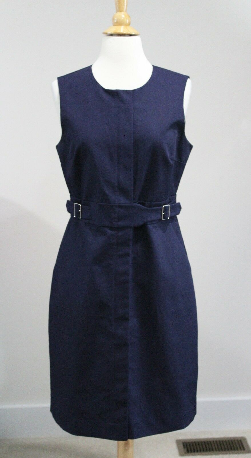 New J CREW Navy Blau ZIP FRONT SLEEVELESS DRESS  Sz 6 Style G2717 Cotton