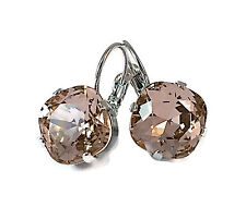 Vintage Rose Cushion Cut Square Stone Earrings with Crystal by Swarovski 4470
