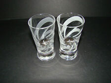 SET OF 2 RUSSIAN STANDARD VODKA FROSTED DOUBLE SHOT GLASSES w/LOGO BARWARE