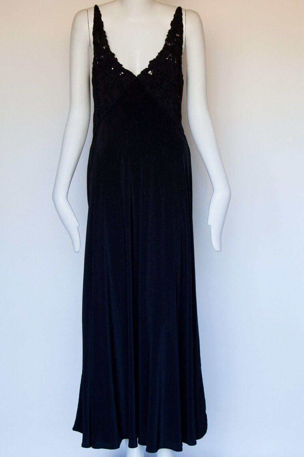 Nicole Farhi Couture Haut Dentelle Soie schwarze Midi robe. Neuf sans Original balises. Sz 4