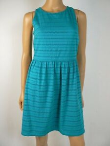 Ann Taylor Turquoise Blue Jersey Cotton Eyelet Fit Amp Flare