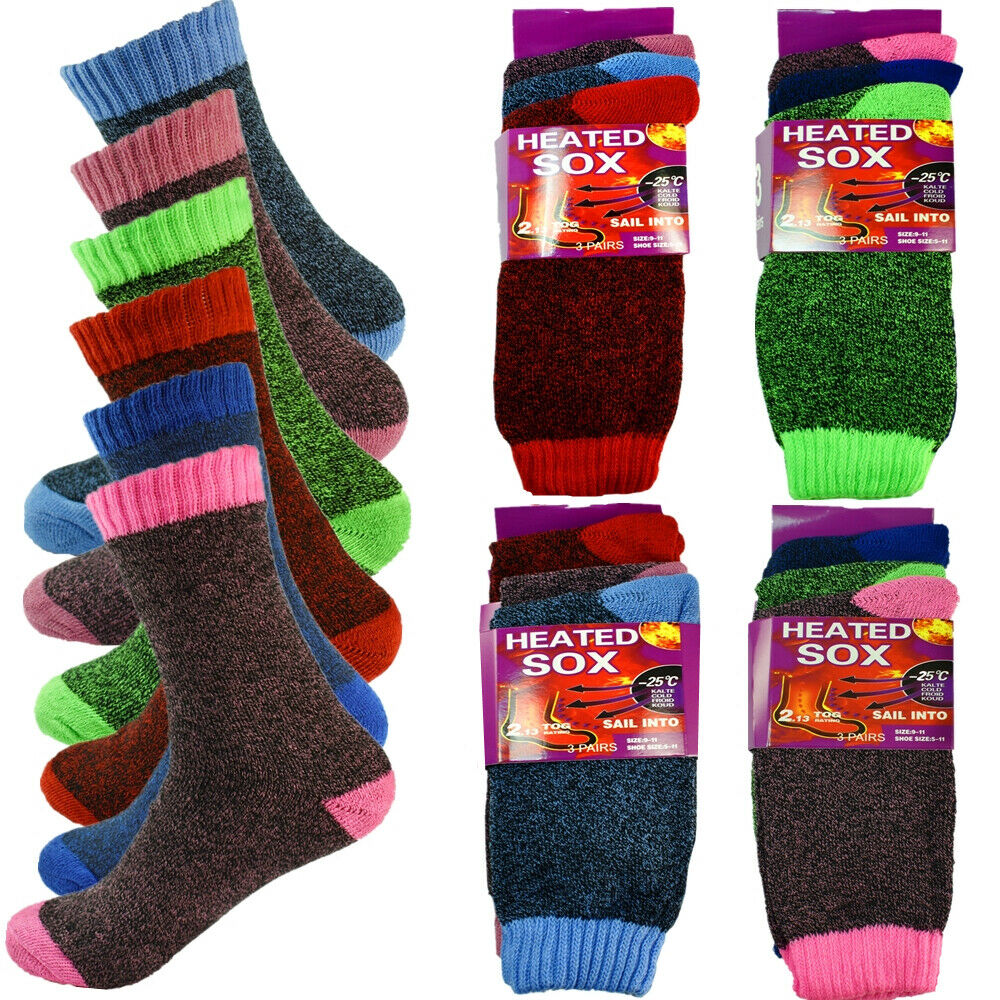 3-12 Pairs Womens Winter Thermal Heated Sox Knitted Heavy Duty Crew Socks 9-11