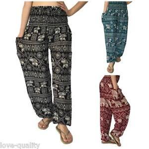 71e2e04a217939 Image is loading Harem-Pants-Baggy-One-Size-Elephant-Pants-Printed-