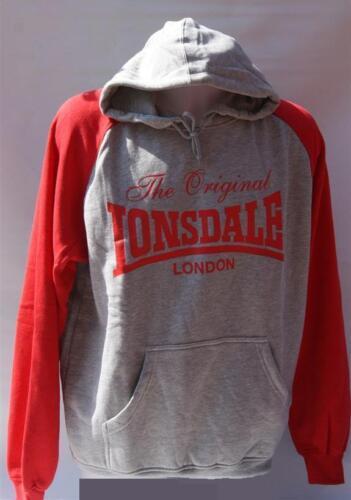 The Original Lonsdale London Hoody Mens Red Grey BNWT RRP £19.99