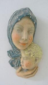 Ancienne-Sculpture-statue-sujet-platre-polychrome-034-femme-a-l-039-enfant-034-carving