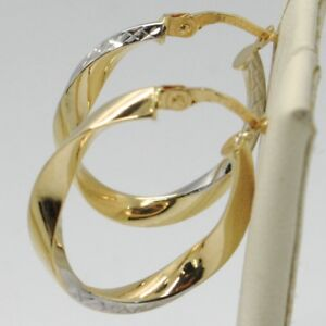 Details About 18k Yellow White Gold Pendant Circle Hoops Ondulate Worked Earrings Italy Made