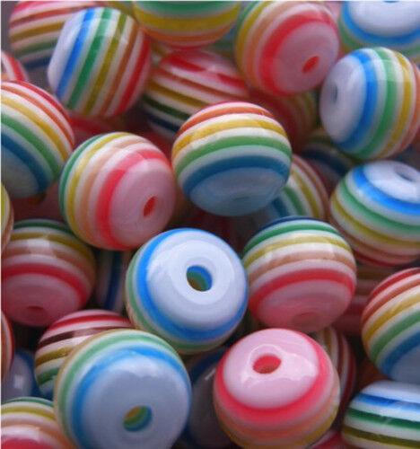 100 Pastel Belle Arc-en-Perles Rondes 8 mm 1ST Classe jour même p/&p