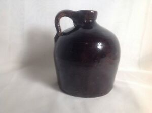 Antique-BEEHIVE-Brown-STONEWARE-JUG-Primitive-Moonshine-Vintage-Shiny-Glaze