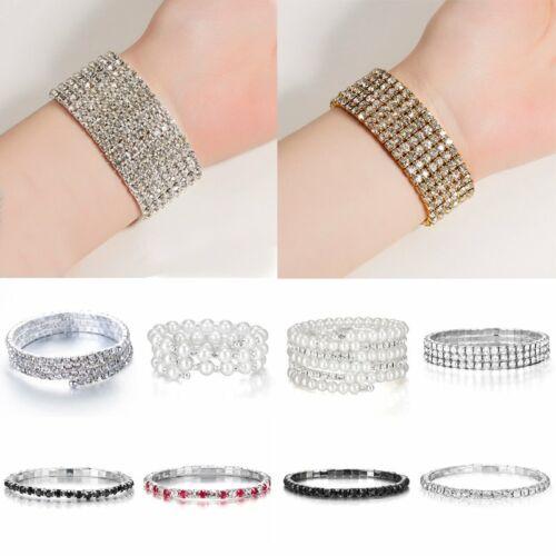 Fashion Pearl Rhinestone Crystal Bangle Women Bracelet Chain Lady Cuff Jewelry