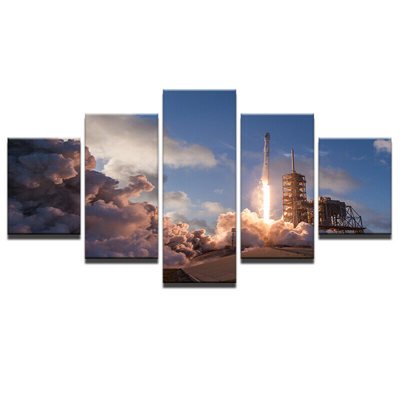 Missile Launch Rocket Takeoff 5 panel canvas Wall Art Home Decor Print Poster