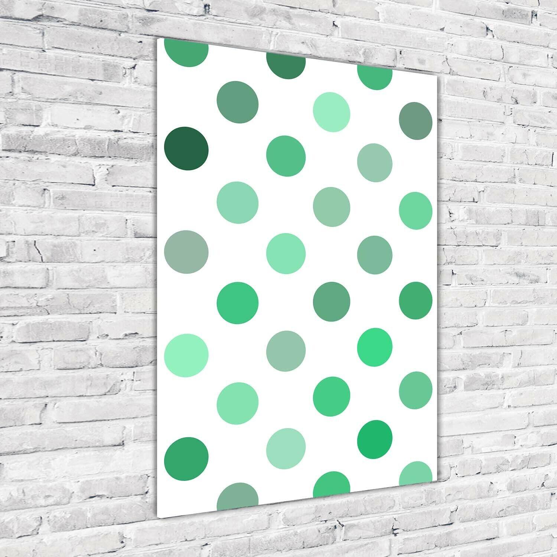 Wandbild Kunst-Druck auf Hart-Glas senkrecht 70x100 Grüne Punkte