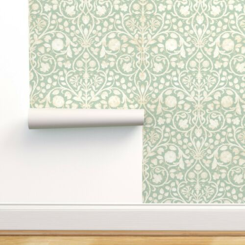 Removable Water-Activated Wallpaper Floral Damask Modern French Green Aqua