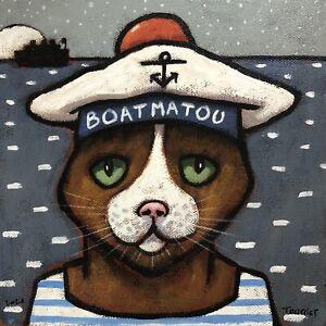 Tableau-Portrait-Chat-Matelot-Marin-Tourrier