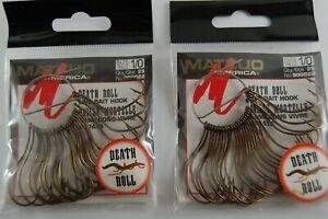 2 Packs of Matzuo Death Roll Live Bait 900022 1//0 Bronze Qty 25 per Pack.
