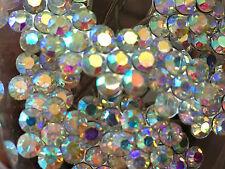 Bridal Wedding Clear AB flower Crystal Diamante Hair Pins Clips  x 10 prom