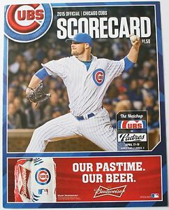 2015 Kris Bryant Chicago Cubs Debut vs. Padres Scorecard Lester Cover Wrigley