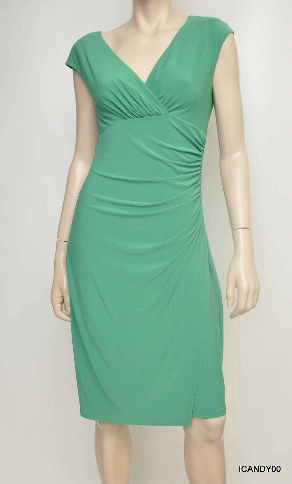 Nwt  RALPH LAUREN V-Neck Faux Wrap Empire Waist Dress Top Grün 8