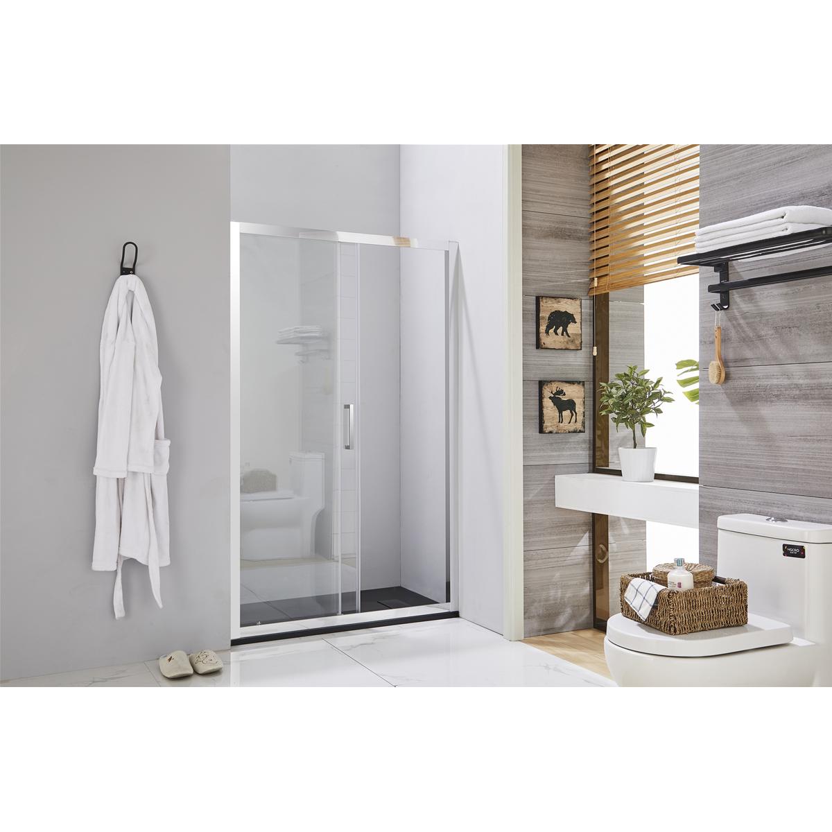 Porta doccia scorrevole 140 cm profilo cromato h195 cristallo trasparente 6mm