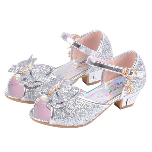 UK Kids Girls Princess Shoes Sandals Mid Low Heel Wedding Party Ballet Shoes