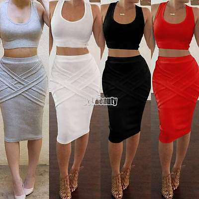 Sexy Women Two Piece Bandage Bodycon Crop Top Skirt Set Party Summer Midi Dress